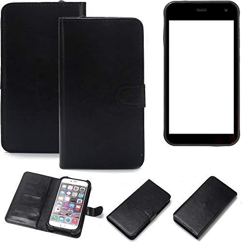 K-S-Trade Wallet Case Handyhülle für Cyrus CS 22 Schutz Hülle Smartphone Flip Cover Flipstyle Tasche Schutzhülle Flipcover Slim Bumper schwarz, 1x