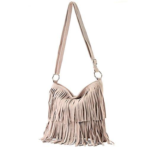 Borsa a mano borsa a tracolla shopping bag donna in vera pelle italiana T02 Rosabeige