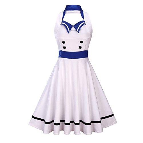 iShine elegante Neckholder Kleider Damen Knielang Abendkleider damen  Partykleider Cocktailkleid Rockabilly Weiß