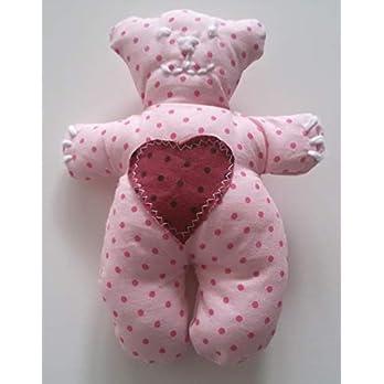 Stofftier kleiner Bär rosa Kuscheltier Handarbeit Handmade