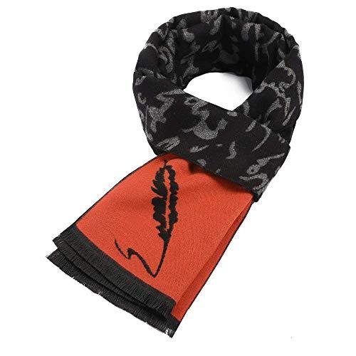 GWFVA Farblich passende Federn Herbst und Winter Herren britischer Windschal Jugendmode Warmer Kragen Herren, schwarz rot 180 * 32 cm