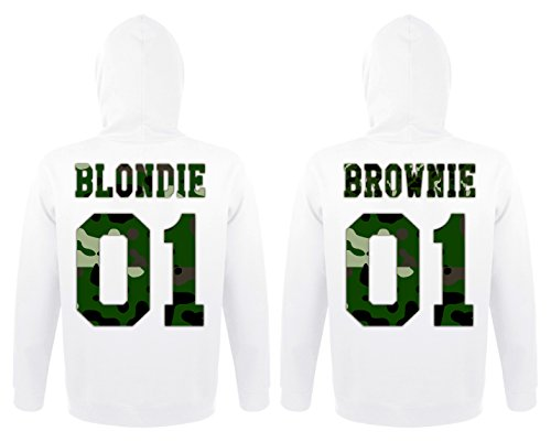 Hoodie Brownie (TRVPPY Partner Herren & Damen Hoodies Blondie & Brownie Camouflage Look, Blondie S, Brownie S, Weiß)