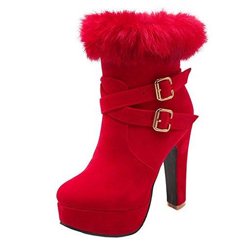 TAOFFEN Damen Mode Knoechel Stiefel Mit absatz Winter Martin Stiefel Rot
