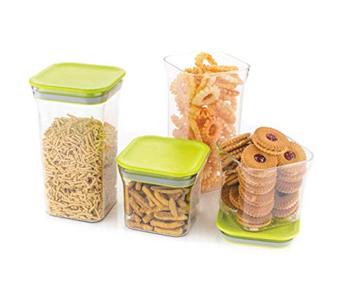 Ginoya Brothers 4 Pcs Square Air Tight Food Storage Kitchen Container Set (1100ml x2, 600mlx2), Color May Vary