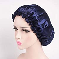 QCLU Beauty Salon Cap Satin Sleep Night Cap Head Cover Bonnet Hat for Curly Springy Hair (Color : Navy)