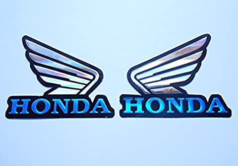 3D blue / chrome HONDA wings stickers decals - set of 2 pieces