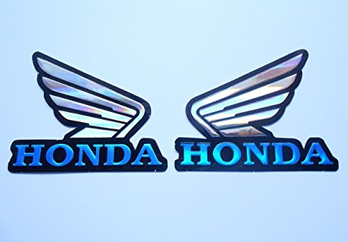 3D blue / chrome HONDA wings stickers decals Adhesivo