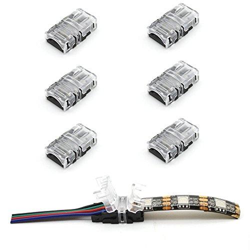 2315/5000 VIPMOON 10 Pack 4Pin LED-Streifen-Verbindungsstück für 10mm wasserdichtes RGB 5050 LED Streifen, schneller Streifen, um Verbindungsstück ohne Abisolierdraht zu verdrahten