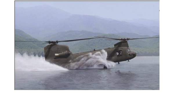 """/""""Water Ops/"""" Dru Blair Signed Print CH-47 Chinook Helicopter"""