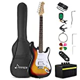Donner DST-1S Solid Full-Size 39 Inch Electric Guitar Kit Sunburst Package with Amplifier