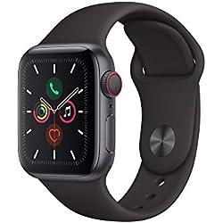 AppleWatch Series5 (GPS + Cellular) Boîtier en Aluminium GrisSidéral (40 mm) - BraceletSport Noir