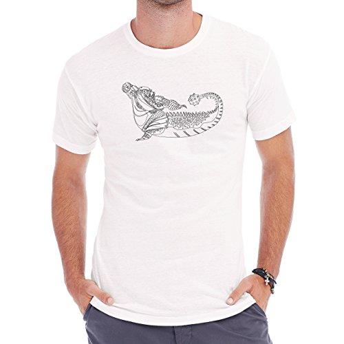 Crocodile Green Reptile Dino Fancy Herren T-Shirt Weiß