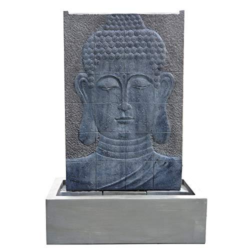 Köhko Wasserspiel Buddha Höhe ca. 102 cm mit LED-Beleuchtung Wasserwand für Garten, die Terrasse und Wohnzimmer