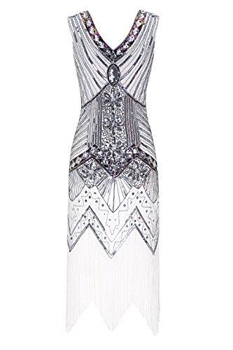 er Jahre V Ausschnitt Perlen Fransen Gatsby Thema Flapper Kleid für Abschlussball (Der Große Gatsby Motto Kostüme)