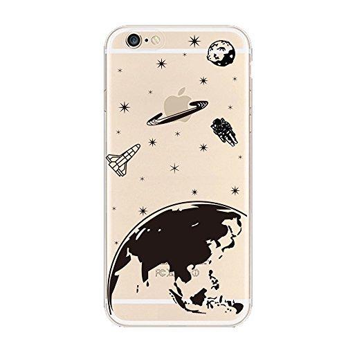 Keyihan® iphone 6s custodia, iphone 6 cover in ultra sottile morbida silicone tpu,motivo: divertente element nero e bianco slim protettiva case per apple iphone 6/6s (schermo da 4,7 pollici) (pianeta terra stella) …