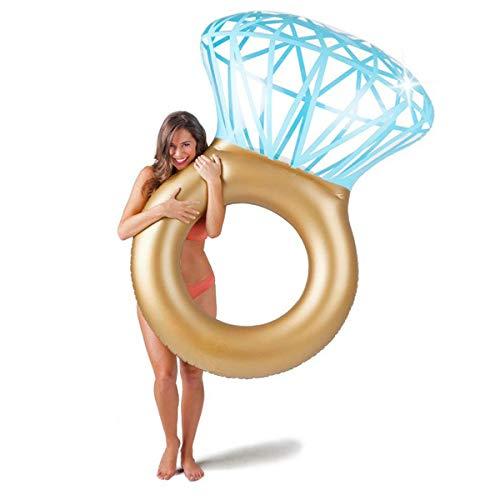 Goods & Gadgets Aufblasbarer Diamantring Schwimmreifen - Schwimmring als romantische Diamant Badeinsel
