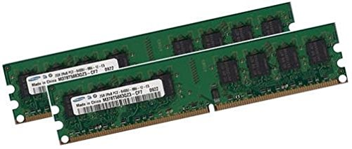 Dual Channel Kit SAMSUNG 2 x 2 GB = 4GB 240 pin DDR2-800 DIMM (800Mhz, PC2-6400) M378T5663QZ3-CF7 double side für DDR2 Computersysteme -