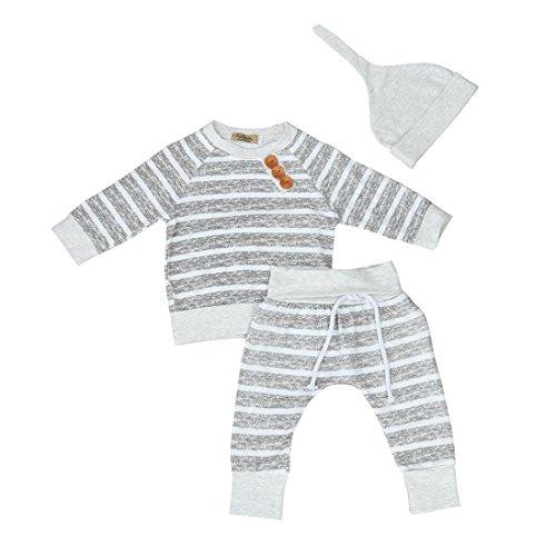Ausverkauf. Jungen Mädchen Kleidung Set Mingfa 3Für Neugeborene Kleinkind Kleinkinder Baby Kid Streifen T-Shirt Tops + Pants + Hat Outfits, Kinder, grau, (18-24M) ()