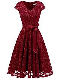 Berylove Damen V-Ausschnitt Kurz Brautjungfer Kleid Cocktail Party Floral Kleid BLP7006DarkRedM