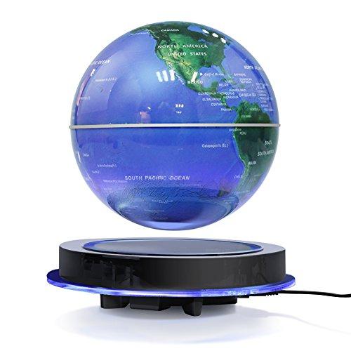 zjchao Magnetische Levitation Globe, Schwimmend Rotierende Kugel Anti Schwerkraft LED beleuchtet Weltkarte Erde für Desktop Office Home Dekor Kinderausbildung Geschenk (8'' Blau Globe) - Plattform Top Basis