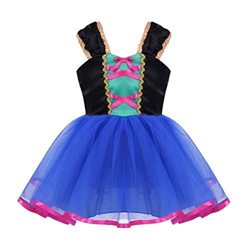 dPois Baby Mädchen Kleid Prinzessin Kleid Festlich Kleid Festzug Karneval Fasching Halloween Cosplay Neugeborenes Partykleid Babykleidung Kinderbekleidung Blau 80/12 Monate