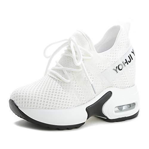 tqgold® Sneakers Zeppa Donna Scarpe da Ginnastica con Zeppa Interna Sportive Fitness Basse Scarpe 9CM(Bianca,36 EU)