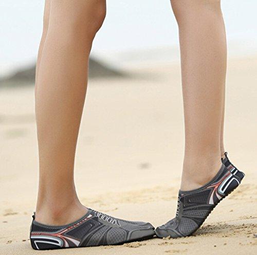 SMITHROAD Unisex Schnelltrockende Rutschfeste Fitnessschuhe Weiche Strandschuhe Schwimmschuhe Aquaschuhe mit Druck Grau