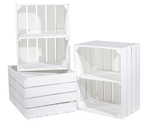 3er Set weiße Kiste für Schuh-und Bücherregal 'quer'- Kistenregal Regalkiste Regal Schuhregal...