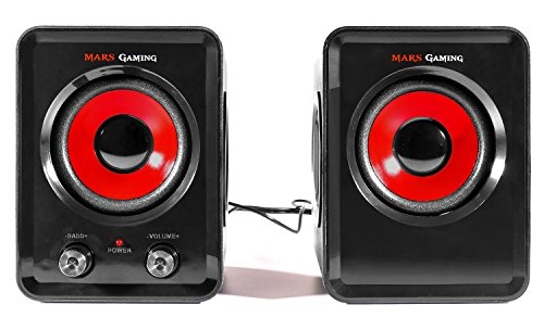 Mars Gaming MS3 - Altavoces Gaming (15W Potencia, 6 Drivers / 2 Activos y 4 pasivos, tamaño Compacto,subwoofer para Graves, USB, Jack 3.5mm, PC/Mac/Smartphone/Tablet), Negro y Rojo