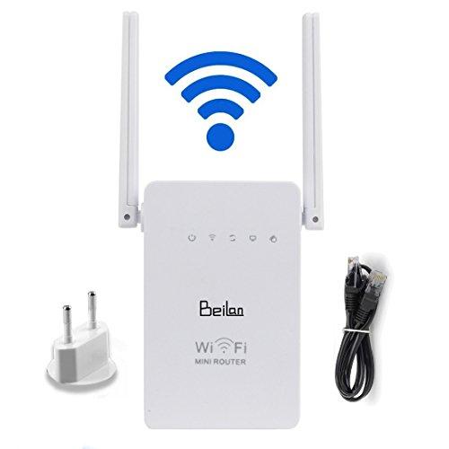 BeiLan 300Mbps Router WiFi de largo alcance extensor de 2,4 GHz WiFi repetidor de la señal del amplificador Booster extensor de red con doble banda antena cumplen el estándar IEEE 802.11n/g/b con WPS 5 modos
