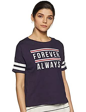 People Women's Printed Loose Fit T-Shirt (P2C289518183219_Navy_S)