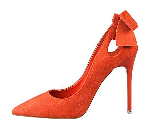 Wealsex Escarpin suédé Noeud Bout Pointu Talon Haute Aiguille 10.5 CM Chaussure Soirée Mariage Club Mode Sexy Femme Orange