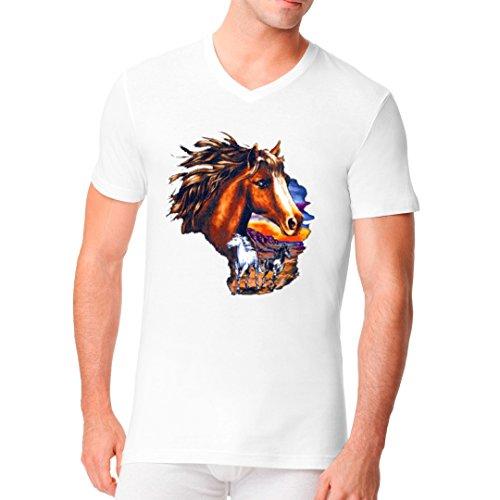 Fun Männer V-Neck Shirt - Pferde bei Sonnenuntergang by Im-Shirt Weiß