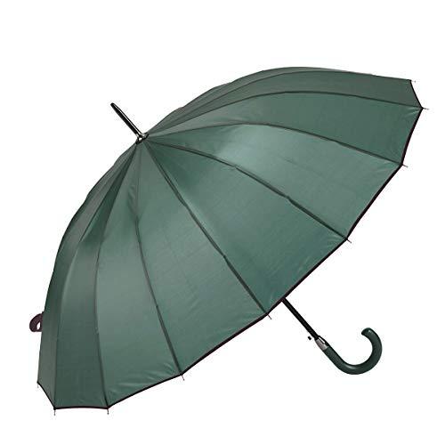 GOTTA Paraguas Largo y Grande de Hombre y Mujer, 16 Varillas. Antiviento, automático y con puño Curvo. Tejido Liso - Verde Botella, 19