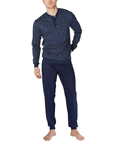 Calida Herren Zweiteiliger Schlafanzug Matt Pyjama mit Bündchen Mehrfarbig (Blue Fog 420)