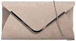 Ladies Classic Medium Sized Faux Suede Envelope Clutch Bag with Contrasting Trim - Nude