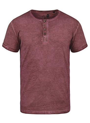 !Solid Tihn Herren T-Shirt Kurzarm Shirt mit Grandad-Ausschnitt aus 100% Baumwolle, Größe:L, Farbe:Wine Red (0985) -