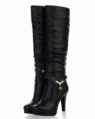 Minetom Donna Autunno Inverno 2 Indossando Stile Boots Tacco Alto Stivali Lunghi Biker Boots Stivaletto Nero