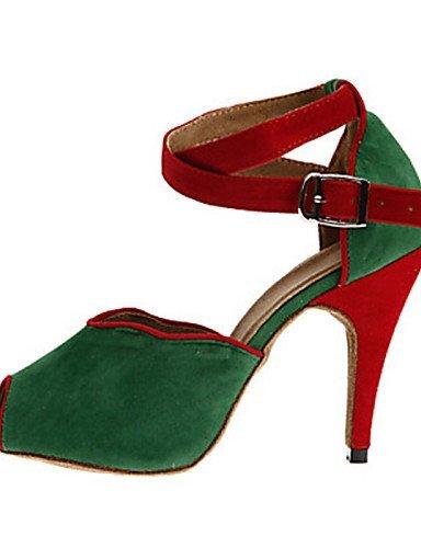 ShangYi Chaussures de danse ( Noir / Bleu / Vert / Rouge / Gris ) - Personnalisables - Talon Personnalisé - Flocage - Latine / Salsa / Samba Grey