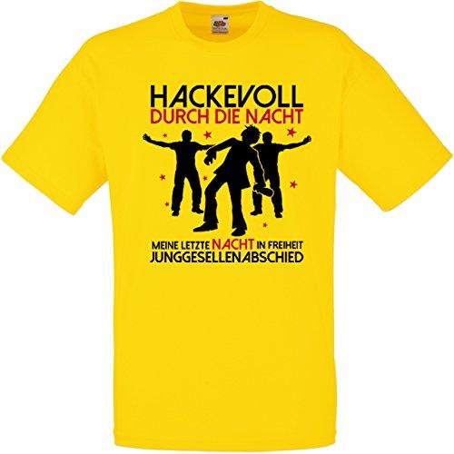 Herren T-Shirt für den Junggesellenabschied mit Motiv Hackevoll - MEINE letzte Nacht in Freiheit (Männer/Bräutigam) in gelb, Größe XXL