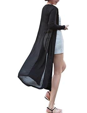 DEELIN Mujeres De Moda Boho Beach Gasa Larga Cardigan Kimono Chaqueta Kaftan Vestido Largo