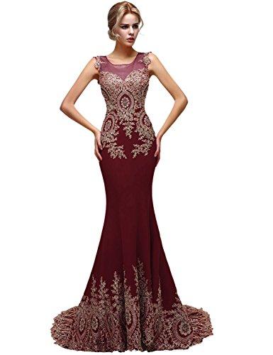 Sarahbridal Damen Kleid Rot - Burgunderrot