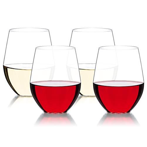 MICHLEY Unzerbrechlich Tritan-Kunststoff weinglaeser, rotwein trinkglas, gläser fur Camping Party, BPA-frei 470 ml plastik Tasse 4er Set