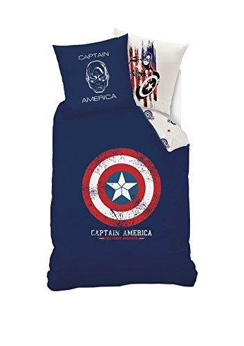 Disney Captain America Bettwäsche Bettbezug + Kissenbezug, Baumwolle, Blau, 140x 200x 1cm