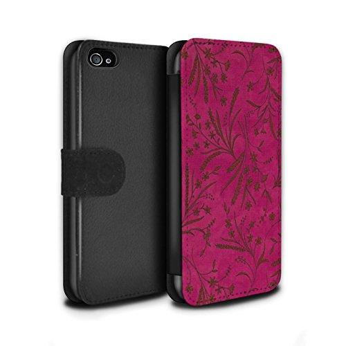 Stuff4 Coque/Etui/Housse Cuir PU Case/Cover pour Apple iPhone 4/4S / Rouge/Vert Design / Motif floral blé Collection Rose/Orange