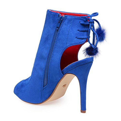 La Modeuse - Bottines peep toes avec un talon ouvert Bleu