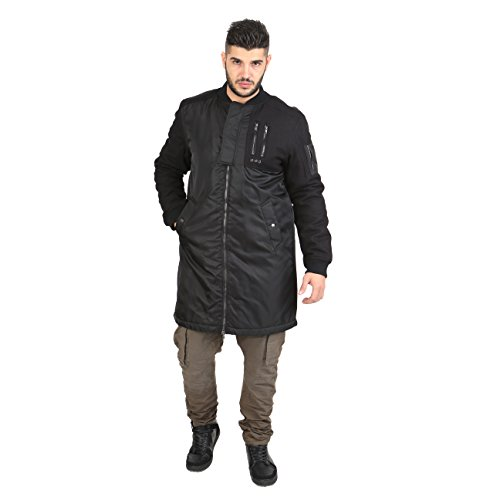 Smiling London - Coat Parka Men's Long double lock - LON6112 Schwarz