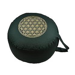 """Herbalind AZ6657 Yogakissen Meditationskissen rund -""""Blume des Lebens"""" - Ø 28 cm und Sitzhöhe 16 cm - Yoga Sitzkissen mit Dinkelfüllung - grün mit Druck in gold"""