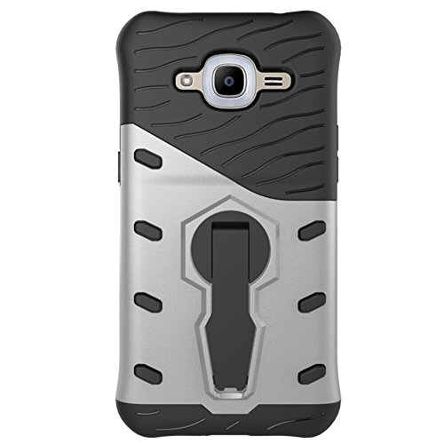 Für Samsung Galaxy J2 2016 / J2 Pro Case Tough Hybrid Heavy Duty Schock Proof Defender Cover Dual Layer Rüstung Combo Mit 360 ° Swivel Stand Schutzhülle Fall ( Color : Black ) Silver