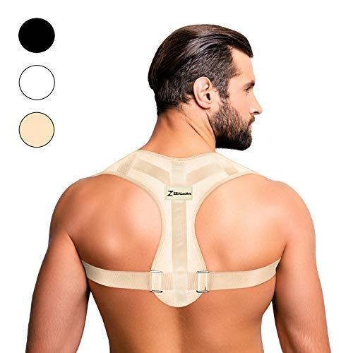 ZEALactive Haltungstrainer zur Haltungskorrektur - elastisch & atmungsaktiv - Geradehalter für eine gesunde & aufrechte Haltung bei haltungsbedingten Rücken & Nackenschmerzen (Beige, M)
